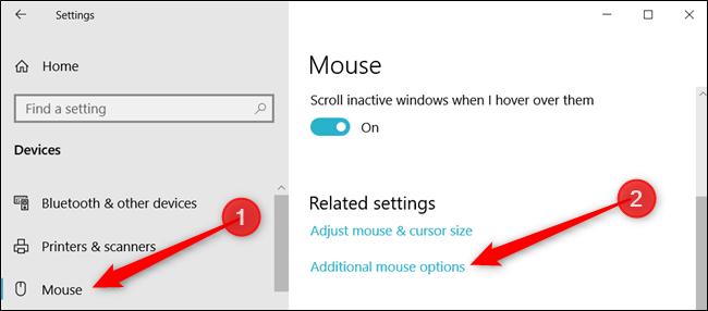 "Click ""Mouse,"" and then click ""Additional mouse options"" to open the Mouse Properties."