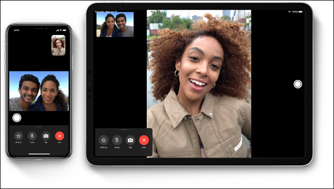 A FaceTime call between one woman and a couple on an iPhone and iPad.